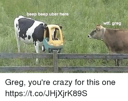 Crazy, Funny, and Uber: beep beep uber here  wtf, greg Greg, you're crazy for this one https://t.co/JHjXjrK89S