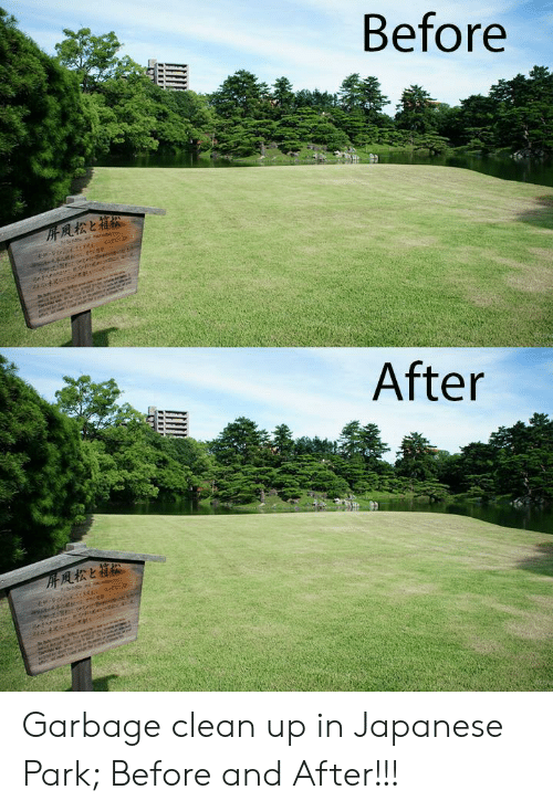 before after: Before  After Garbage clean up in Japanese Park; Before and After!!!