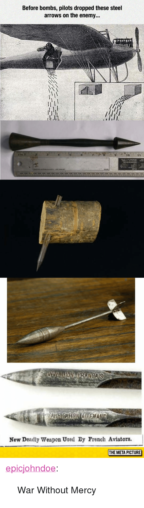 """Tumblr, Blog, and French: Before bombs, pilots dropped these steel  arrows on the enemy...  New Deadly Weapon Used By French Aviators.  THE META PICTURE <p><a href=""""https://epicjohndoe.tumblr.com/post/172738344069/war-without-mercy"""" class=""""tumblr_blog"""">epicjohndoe</a>:</p>  <blockquote><p>War Without Mercy</p></blockquote>"""