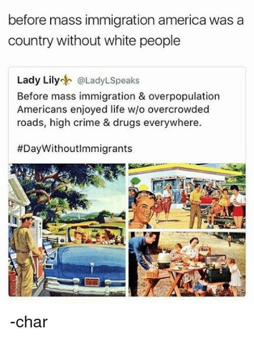 America, Crime, and Drugs: before mass immigration america was a  country without white people  Lady Lily  Lady LSpeaks  Before mass immigration & overpopulation  Americans enjoyed life w/o overcrowded  roads, high crime & drugs everywhere.  #Day Withoutlmmigrants -char