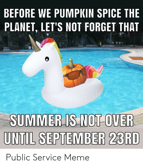 Meme, Summer, and Pumpkin: BEFORE WE PUMPKIN SPICE THE  PLANET, LET'S NOT FORGET THAT  SUMMER IS NOT OVER  UNTIL SEPTEMBER 23RD Public Service Meme