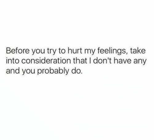 consideration: Before you try to hurt my feelings, take  into consideration that I don't have any  and you probably do.