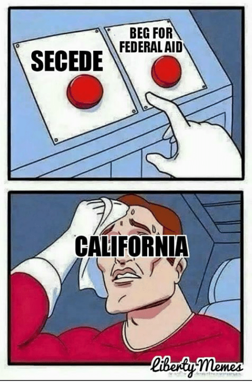 Memes, 🤖, and Beg: BEG FOR  FEDERAL AID  SECEDE  CALIFORNIA
