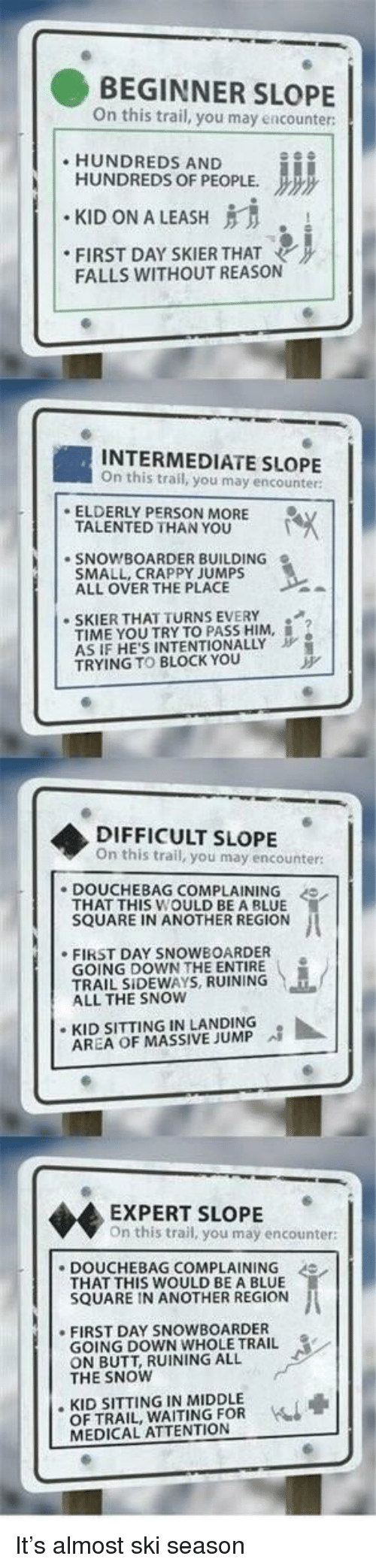 """Butt, Douchebag, and Blue: BEGINNER SLOPE  n this trail, you may encounter  HUNDREDS AND  HUNDREDS OF PEOPLE.  """" KID ON A LEASH  FIRST DAY SKIERTHAT  FALLS WITHOUT REASON  INTERMEDIATE SLOPE  On this trail, you may encounter:  ELDERLY PERSON MORE  TALENTED THAN YOU  SNOWBOARDER BUILDING  SMALL, CRAPPY JUMPS  ALL OVER THE PLACE  SKIER THAT TURNS EVERY  TIME YOU TRYTO PASS HIM, İ.  AS IF HE'S INTENTIONALLY  TRYING TO BLOCK YOu  DIFFICULT SLOPE  On this trail, you may encounter  DOUCHEBAG COMPLAINING  THAT THIS WOULD BE A BLUE  SQUARE IN ANOTHER REGION  .FIRST DAY SNOWBOARDER  GOING DOWN THE ENTIRE .  TRAIL SIDEWAYS, RUINING  ALL THE SNOW  ·KID SITTING IN LANDING  AREA OF MASSIVE JUMP  EXPERT SLOPE  On this trail, you may encounter:  DOUCHEBAG COMPLAINING  THAT THIS WOULD BE A BLUE  SQUARE IN ANOTHER REGION  FIRST DAY SNOWBOARDER  GOING DOWN WHOLE TRAIL  ON BUTT, RUINING ALL  THE SNOW  . KID SITTING IN MIDDLE  OF TRAIL, WAITING FOR  MEDICAL ATTENTION It's almost ski season"""