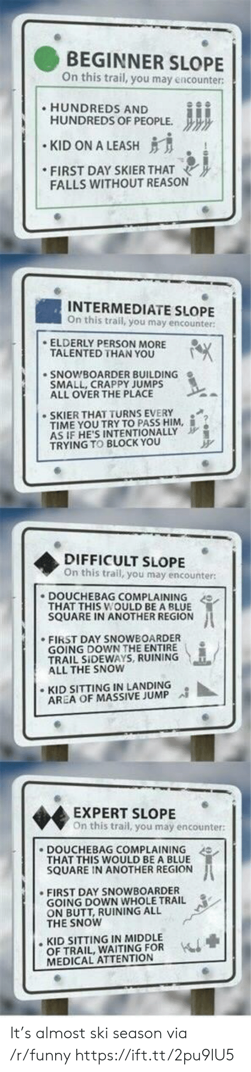 """Butt, Douchebag, and Funny: BEGINNER SLOPE  n this trail, you may encounter  HUNDREDS AND  HUNDREDS OF PEOPLE.  """" KID ON A LEASH  FIRST DAY SKIERTHAT  FALLS WITHOUT REASON  INTERMEDIATE SLOPE  On this trail, you may encounter:  ELDERLY PERSON MORE  TALENTED THAN YOU  SNOWBOARDER BUILDING  SMALL, CRAPPY JUMPS  ALL OVER THE PLACE  SKIER THAT TURNS EVERY  TIME YOU TRYTO PASS HIM, İ.  AS IF HE'S INTENTIONALLY  TRYING TO BLOCK YOu  DIFFICULT SLOPE  On this trail, you may encounter  DOUCHEBAG COMPLAINING  THAT THIS WOULD BE A BLUE  SQUARE IN ANOTHER REGION  .FIRST DAY SNOWBOARDER  GOING DOWN THE ENTIRE .  TRAIL SIDEWAYS, RUINING  ALL THE SNOW  ·KID SITTING IN LANDING  AREA OF MASSIVE JUMP  EXPERT SLOPE  On this trail, you may encounter:  DOUCHEBAG COMPLAINING  THAT THIS WOULD BE A BLUE  SQUARE IN ANOTHER REGION  FIRST DAY SNOWBOARDER  GOING DOWN WHOLE TRAIL  ON BUTT, RUINING ALL  THE SNOW  . KID SITTING IN MIDDLE  OF TRAIL, WAITING FOR  MEDICAL ATTENTION It's almost ski season via /r/funny https://ift.tt/2pu9lU5"""