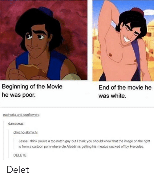 Delet: Beginning of the Movie  he was poor.  End of the movie he  was white  euphoria-and-sunflowers:  damaseas  chocho-akimichi  Jesse I think you're a top notch guy but I think you should know that the image on the right  is from a cartoon porn where ole Aladdin is getting his meatus sucked off by Hercules.  DELETE Delet