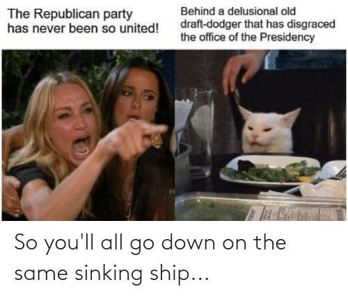 Republican Party: Behind a delusional old  The Republican party  has never been so united!  draft-dodger that has disgraced  the office of the Presidency So you'll all go down on the same sinking ship...