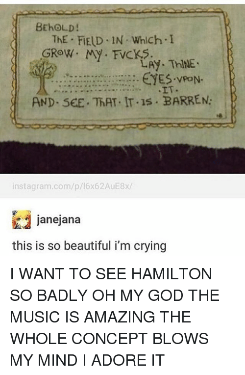 Blow My Mind: BEhOLD!  ThE FIELD IN Which I  GROW. My FVCKS.  LAy. ThINE.  EYES. PON.  AND. SEE. ThAT. IT.1s BARREN:  instagram.com/p/16x62AuE8x/  janejana  this is so beautiful i'm crying I WANT TO SEE HAMILTON SO BADLY OH MY GOD THE MUSIC IS AMAZING THE WHOLE CONCEPT BLOWS MY MIND I ADORE IT