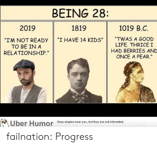 """B C: BEING 28:  1019 B.C  2019  1819  """"TWAS A GOOD  LIFE. THRICEI  HAD BERRIES AND  ONCE A PEAR.""""  """"I HAVE 14 KIDS""""  """"I'M NOT READY  TO BE IN A  RELATIONSHIP.""""  Uber Humor  Sexy singles near you, but they are not interested. failnation:  Progress"""