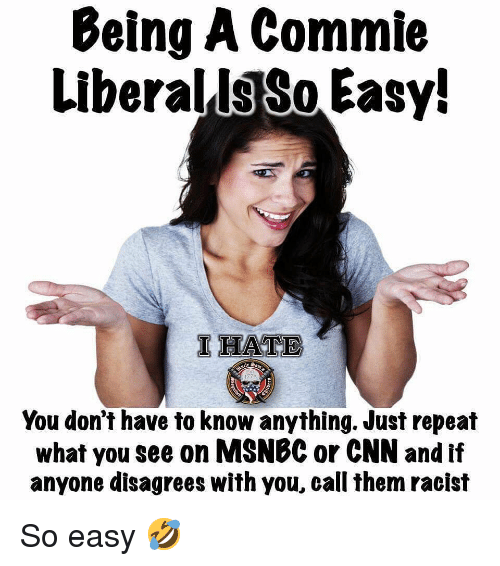 cnn.com, Memes, and Msnbc: Being A Commie  LiberallsSo Easy!  IHATE  You don't have to know anything. Just repeat  what you see on MSNBC or CNN and if  anyone disagrees with you, call them racist So easy 🤣