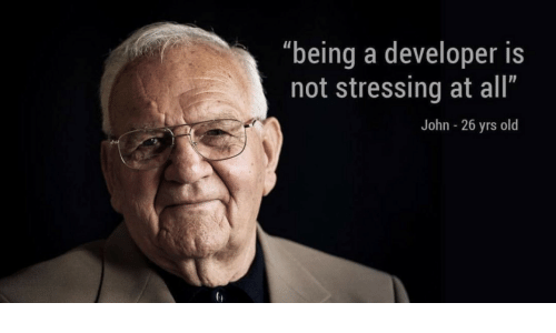 """developer: """"being a developer is  not stressing at all""""  John - 26 yrs old"""
