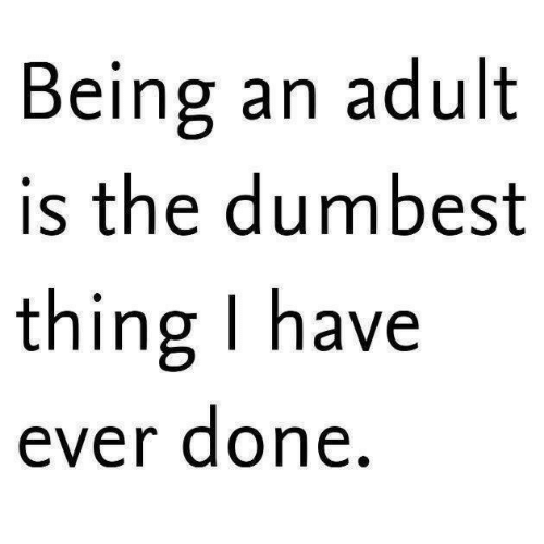 Being an Adult, Adult, and Thing: Being an adult  is the dumbest  thing I have  ever done