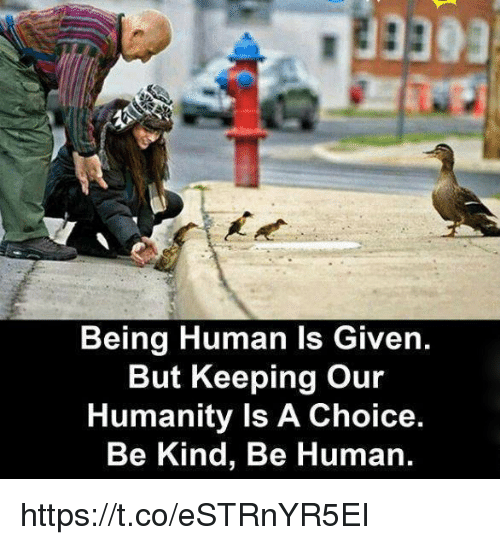 Being Human, Humanity, and Human: Being Human Is Given.  But Keeping our  Humanity Is A Choice.  Be Kind, Be Human. https://t.co/eSTRnYR5EI