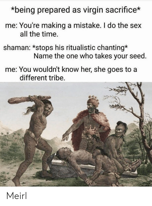 Chanting: *being prepared as virgin sacrifice*  me: You're making a mistake. I do the sex  shaman: *stops his ritualistic chanting*  me: You wouldn't know her, she goes to a  all the time.  Name the one who takes your seed.  different tribe. Meirl