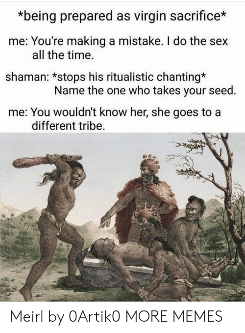 Dank, Memes, and Sex: *being prepared as virgin sacrifice*  me: You're making a mistake. I do the sex  all the time.  shaman: *stops his ritualistic chanting*  Name the one who takes your seed.  me: You wouldn't know her, she goes to a  different tribe Meirl by 0Artik0 MORE MEMES