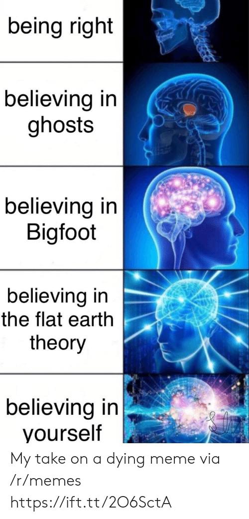 Bigfoot, Meme, and Memes: being right  believing in  ghosts  believing in  Bigfoot  believing in  the flat earth  theory  believing in  yourself My take on a dying meme via /r/memes https://ift.tt/2O6SctA
