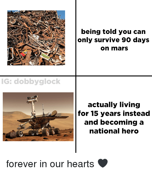 Forever, Hearts, and Mars: being told you can  only survive 90 days  on mars  G: dobbyglock  actually living  for 15 years instead  and becoming a  national hero forever in our hearts 🖤