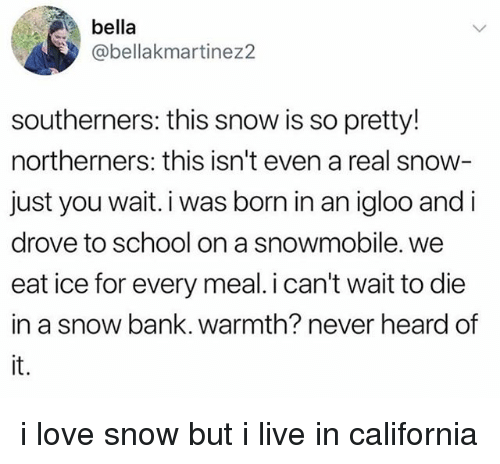 Love, School, and Bank: bella  @bellakmartinez2  southerners: this snow is so pretty!  northerners: this isn't even a real snow  just you wait. i was born in an igloo and i  drove to school on a snowmobile. we  eat ice for every meal. i can't wait to die  in a snow bank. warmth? never heard of  it. i love snow but i live in california