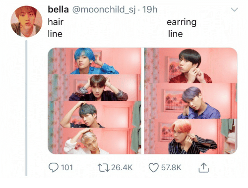 Hair, Bella, and Line: bella @moonchild_sj 19h  hair  earring  line  line  101 t 26.4K 57.8K