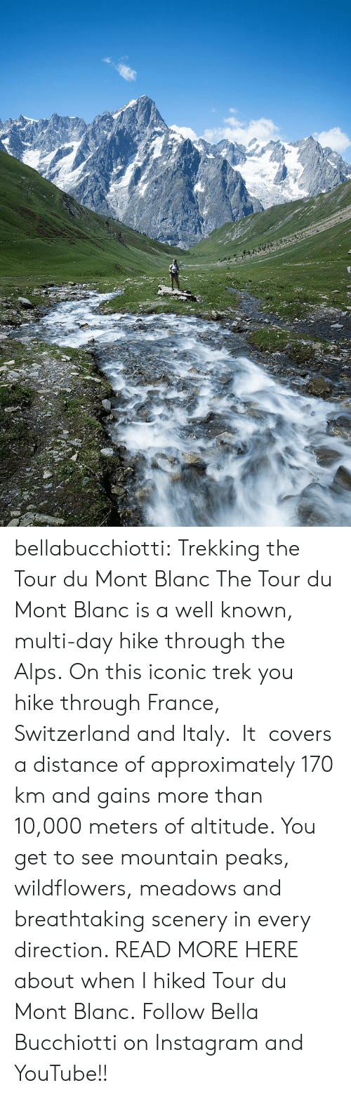Instagram, Tumblr, and youtube.com: bellabucchiotti: Trekking the Tour du Mont Blanc   The Tour du Mont Blanc is a well known, multi-day hike through the Alps.  On this iconic trek you hike through France, Switzerland and Italy.  It   covers a distance of approximately 170 km and gains more than 10,000  meters of altitude. You get to see mountain peaks, wildflowers, meadows  and breathtaking scenery in every direction.   READ MORE HERE about when I hiked Tour du Mont Blanc.  Follow Bella Bucchiotti on Instagram and YouTube!!
