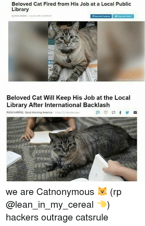 Lean, Memes, and Good Morning: Beloved Cat Fired from His Job at a Local Public  Library  Beloved Cat Will Keep His Job at the Local  Library After International Backlash  RICKIHARRIS, Good Morning Amenca hour 22 nutes ago we are Catnonymous 🐱 (rp @lean_in_my_cereal 👈) hackers outrage catsrule