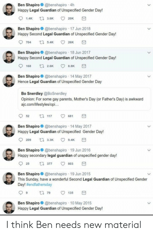 Fathers Day, Mother's Day, and Parents: Ben Shapiro@benshapiro 4h  Happy Legal Guardian of Unspecified Gender Day!  1.4K t3.6K  20K  Ben Shapiro @benshapiro 17 Jun 2018  Happy Second Legal Guardian of Unspecified Gender Day!  26K  704 5.4K  Ben Shapiro@benshapiro 18 Jun 2017  Happy Second Legal Guardian of Unspecified Gender Day!  t 26K  168  8.8K  Ben Shapiro @benshapiro 14 May 2017  Hence Legal Guardian of Unspecified Gender Day  Bo Snerdley @BoSnerdley  Opinion: For some gay parents, Mother's Day (or Father's Day) is awkward  ajc.com/lifestyles/opi...  t 117  52  681  Ben Shapiro@benshapiro 14 May 2017  Happy Legal Guardian of Unspecified Gender Day!  209 3.3K  9.4K  Ben Shapiro@benshapiro 19 Jun 2016  Happy secondary legal guardian of unspecified gender day!  ti 377  25  803  Ben Shapiro@benshapiro 19 Jun 2015  This Sunday, have a wonderful Second Legal Guardian of Unspecified Gender  Day! #endfathersday  t 79  135  Ben Shapiro@benshapiro 10 May 2015  Happy Legal Guardian of Unspecified Gender Day! I think Ben needs new material