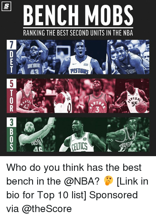 Basketball, Nba, and Sports: BENCH MOBS  RANKING THE BEST SECOND UNITS IN THE NBA  43 .  PISTONS  42  3  CELTICS Who do you think has the best bench in the @NBA? 🤔 [Link in bio for Top 10 list] Sponsored via @theScore