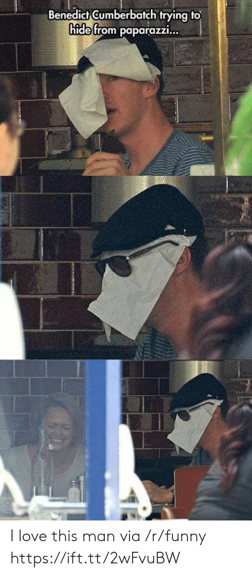 Funny, Love, and Via: Benedict Gumberbatch trying to  hide from paparazzi... I love this man via /r/funny https://ift.tt/2wFvuBW