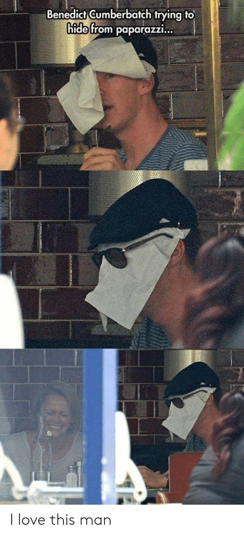 Love, Hide, and Man: Benedict Gumberbatch trying to  hide from paparazzi... I love this man