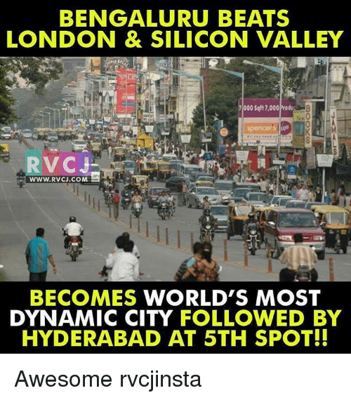 Memes, Bengals, and 🤖: BENGAL URU BEATS  LONDON & SILICON VALLEY  000 Sqft 7,000Produ  RVCI  WWW. RVCJ.COM  BECOMES WORLD'S MOST  DYNAMIC CITY FOLLOWED BY  HYDERABAD AT 5TH SPOT!! Awesome rvcjinsta