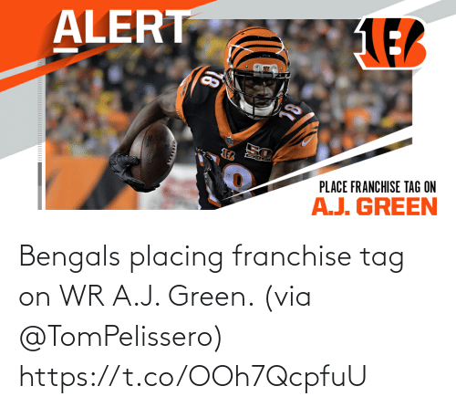 J: Bengals placing franchise tag on WR A.J. Green. (via @TomPelissero) https://t.co/OOh7QcpfuU
