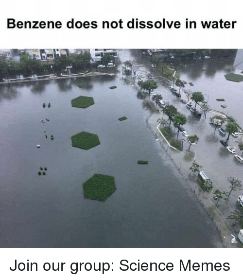 Memes, Science, and Water: Benzene does not dissolve in water Join our group: Science Memes