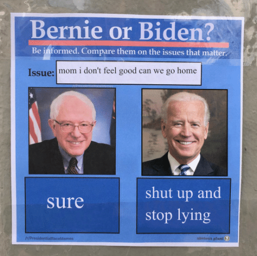 Lying: Bernie or Biden?  Be informed. Compare them on the issues that matter  Issue: mom i don't feel good can we go home  shut up and  Sure  stop lying  IH/ProsidentialRaceMemes  obvious plant