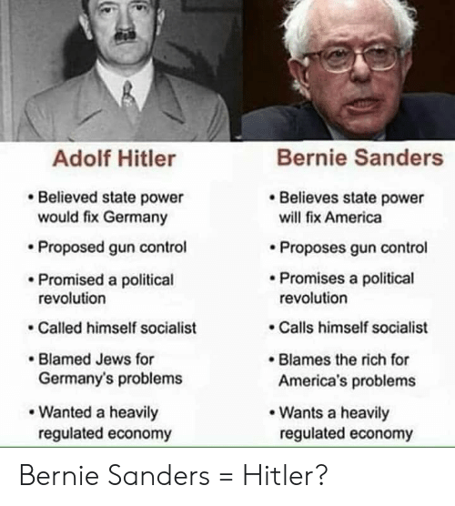 America, Bernie Sanders, and Control: Bernie Sanders  Adolf Hitler  Believes state power  Believed state power  would fix Germany  will fix America  Proposed gun control  Proposes gun control  Promises a political  revolution  Promised a political  revolution  Calls himself socialist  Called himself socialist  Blamed Jews for  Germany's problems  Blames the rich for  America's problems  Wanted a heavily  Wants a heavily  regulated economy  regulated economy Bernie Sanders = Hitler?