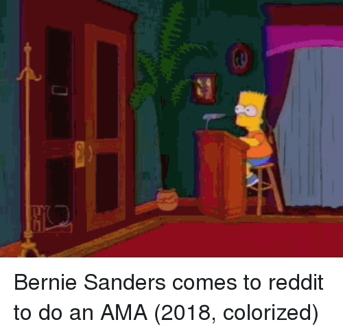 Bernie Sanders: Bernie Sanders comes to reddit to do an AMA (2018, colorized)