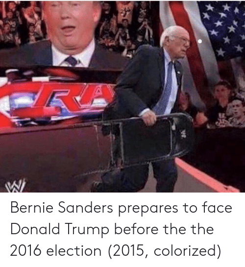 Bernie Sanders: Bernie Sanders prepares to face Donald Trump before the the 2016 election (2015, colorized)