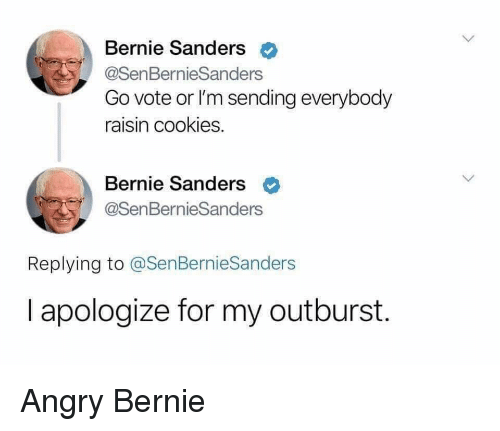 Bernie Sanders, Cookies, and Angry: Bernie Sanders  @SenBernieSanders  Go vote or l'm sending everybody  raisin cookies.  Bernie Sanders <  @SenBernieSanders  Replying to @SenBernieSanders  I apologize for my outburst. Angry Bernie