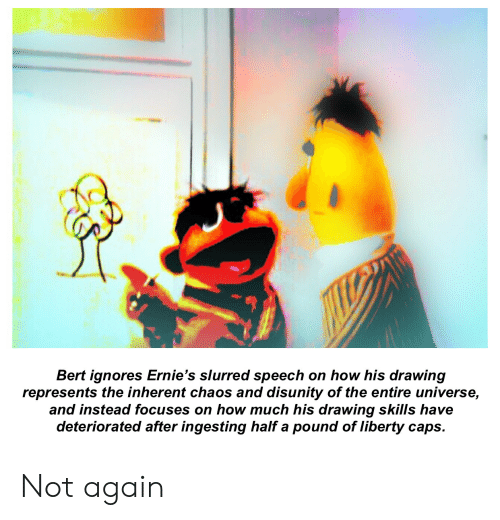Liberty, How, and Universe: Bert ignores Ernie's slurred speech on how his drawing  represents the inherent chaos and disunity of the entire universe,  and instead focuses on how much his drawing skills have  deteriorated after ingesting half a pound of liberty caps. Not again