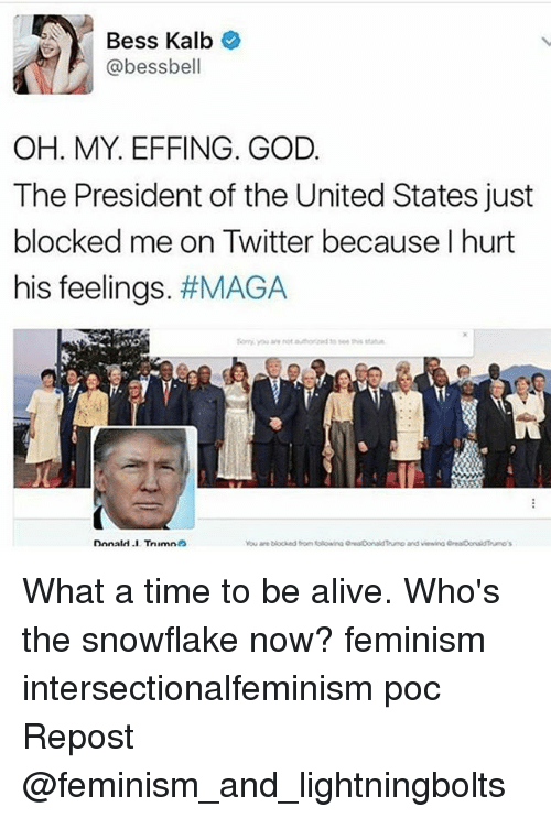 Alive, Feminism, and God: Bess Kalb  @bess bell  OH. MY EFFING. GOD  The President of the United States just  blocked me on Twitter because I hurt  his feelings  #MAGA  Donald .I TrninnnS What a time to be alive. Who's the snowflake now? feminism intersectionalfeminism poc Repost @feminism_and_lightningbolts