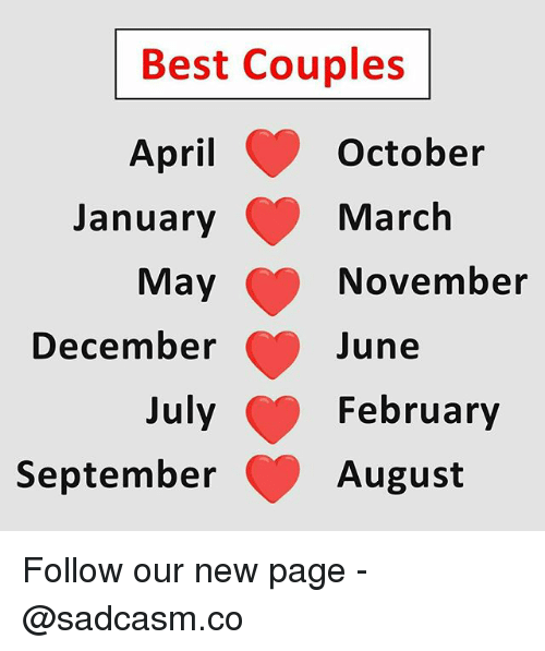 Memes, Best, and April: Best Couples  October  March  November  une  February  August  April  January  December  July  September Follow our new page - @sadcasm.co