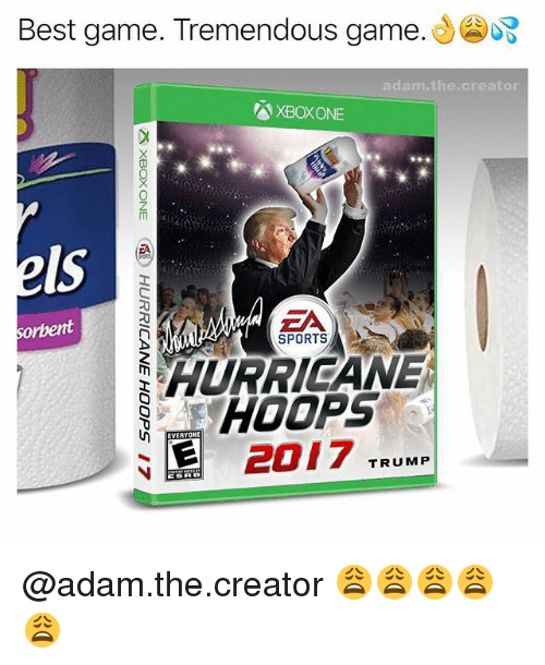 Sports, Xbox One, and Xbox: Best game. Tremendous game.  adam.the.creator  XBOX ONE  Is  ZA  SPORTS  sorbent  HURRIGANE  HOOPS  EVERYOHE  2017 TRUMP @adam.the.creator 😩😩😩😩😩