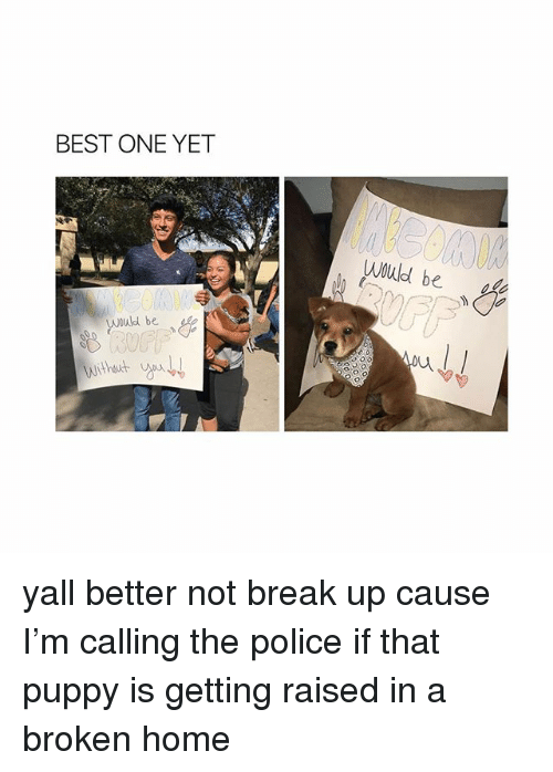 Police, Best, and Break: BEST ONE YET  Would be  Would be yall better not break up cause I'm calling the police if that puppy is getting raised in a broken home