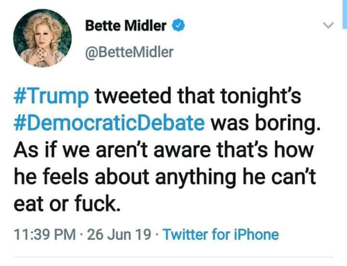 Iphone, Twitter, and Bette Midler: Bette Midler  @BetteMidler  #Trump tweeted that tonight's  #DemocraticDebate was boring  As if we aren't aware that's how  he feels about anything he can't  eat or fuck.  11:39 PM 26 Jun 19 Twitter for iPhone