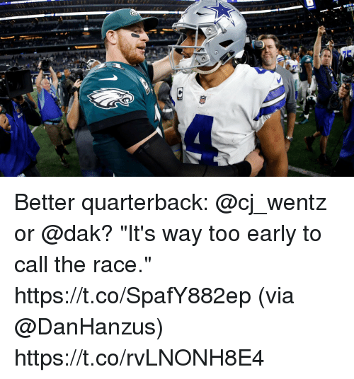 """Memes, Race, and 🤖: Better quarterback: @cj_wentz or @dak?  """"It's way too early to call the race."""" https://t.co/SpafY882ep (via @DanHanzus) https://t.co/rvLNONH8E4"""
