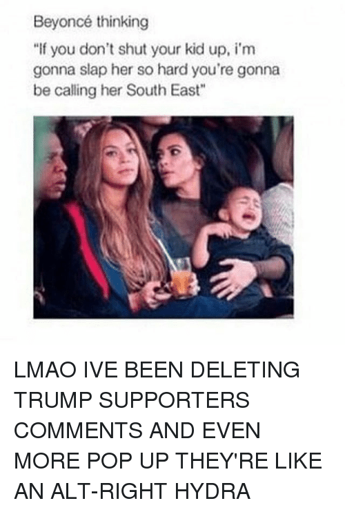 """Trump Support: Beyoncé thinking  """"If you don't shut your kid up, i'm  gonna slap her so hard you're gonna  be calling her South East"""" LMAO IVE BEEN DELETING TRUMP SUPPORTERS COMMENTS AND EVEN MORE POP UP THEY'RE LIKE AN ALT-RIGHT HYDRA"""