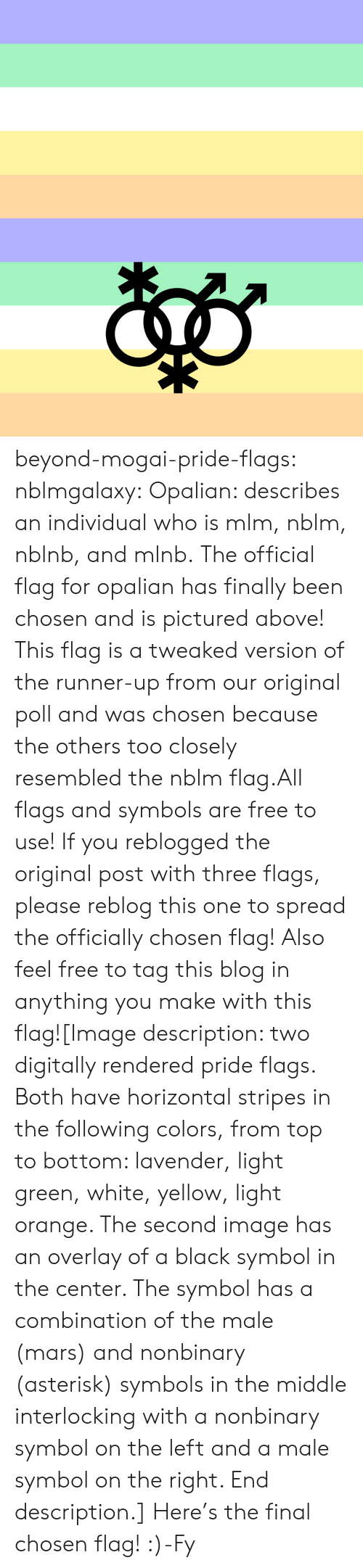 Pride Flags: beyond-mogai-pride-flags:  nblmgalaxy:  Opalian: describes an individual who is mlm, nblm, nblnb, and mlnb. The official flag for opalian has finally been chosen and is pictured above! This flag is a tweaked version of the runner-up from our original poll and was chosen because the others too closely resembled the nblm flag.All flags and symbols are free to use! If you reblogged the original post with three flags, please reblog this one to spread the officially chosen flag! Also feel free to tag this blog in anything you make with this flag![Image description: two digitally rendered pride flags. Both have horizontal stripes in the following colors, from top to bottom: lavender, light green, white, yellow, light orange. The second image has an overlay of a black symbol in the center. The symbol has a combination of the male (mars) and nonbinary (asterisk) symbols in the middle interlocking with a nonbinary symbol on the left and a male symbol on the right. End description.]  Here's the final chosen flag! :)-Fy