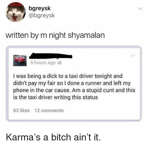 Bitch, Funny, and Phone: bgreysk  @bgreysk  written by m night shyamalan  6 hours ago  I was being a dick to a taxi driver tonight and  didn't pay my fair so I done a runner and left my  phone in the car cause. Am a stupid cunt and this  is the taxi driver writing this status  83 likes  12 comments Karma's a bitch ain't it.