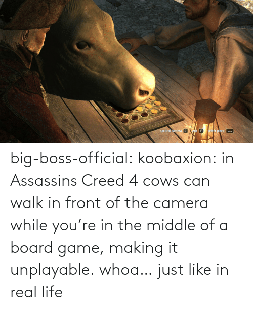 Life, Target, and Tumblr: big-boss-official: koobaxion: in Assassins Creed 4 cows can walk in front of the camera while you're in the middle of a board game, making it unplayable. whoa… just like in real life