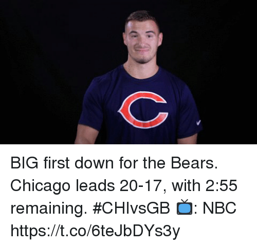 Chicago, Memes, and Bears: BIG first down for the Bears.  Chicago leads 20-17, with 2:55 remaining. #CHIvsGB  📺: NBC https://t.co/6teJbDYs3y