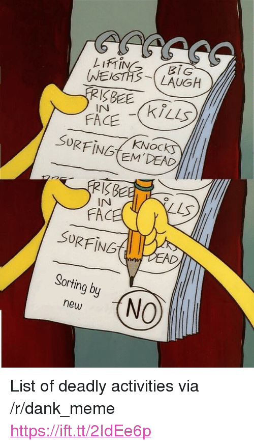 "Dank, Fac, and Meme: BIG  NEISTHS-LAUGH  InN  KNOC  SORFING EM DEN  19BC  IN  FAC  SURFING  Sorting by  new <p>List of deadly activities via /r/dank_meme <a href=""https://ift.tt/2IdEe6p"">https://ift.tt/2IdEe6p</a></p>"